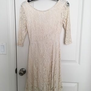 Lush cream colored lace 3/4 sleeve dress